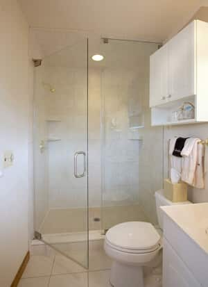 Bathroom showing modern oversize shower with seamless glass door and neutral tones.