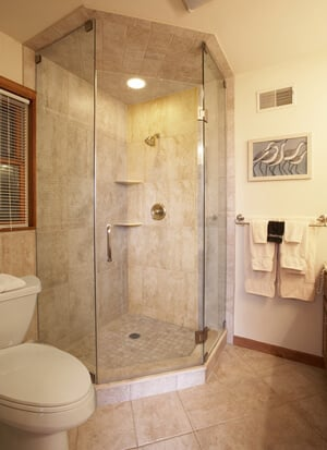 Marble-like bathroom with walk-in shower
