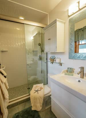 white bathroom, walk-in shower, sea-theme, towel with blue starfish across closed toilet.